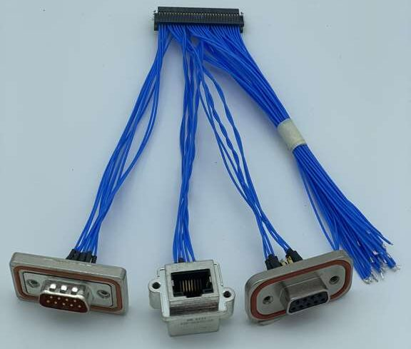 Wire and crimp image with blue cables